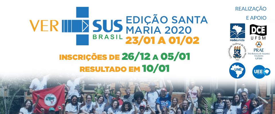 PARTICIPANTES SELECIONADOS PARA VIVÊNCIA VER-SUS SANTA MARIA - EDIÇÃO 2020.1