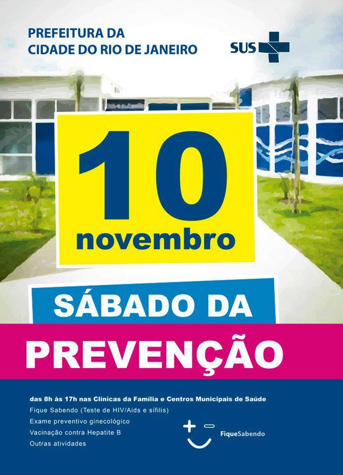 Dia 10/11, Sábado da Prevenção